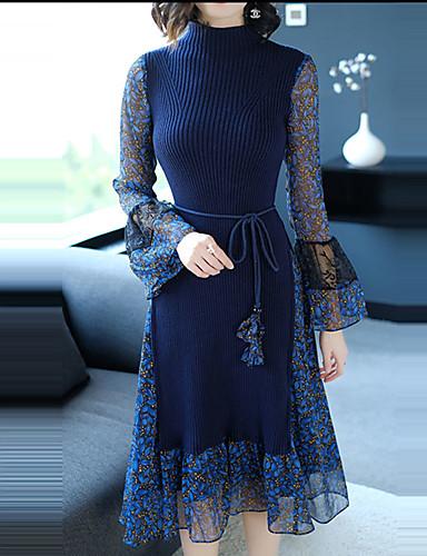 כחול עומד מידי קפלים, קולור בלוק - שמלה נדן רזה שרוול התלקחות סגנון רחוב / מתוחכם ליציאה בגדי ריקוד נשים / אביב
