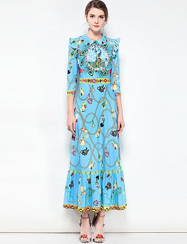 9c8c2c98c0 Women s Ruffle Party Basic   Boho Maxi Swing Dress - Floral Shirt Collar  Spring Cotton Blue M L XL