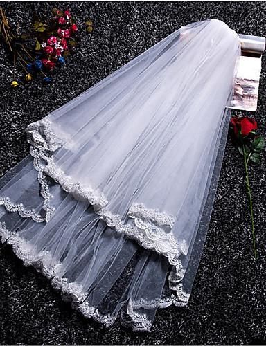 שתי שכבות סגנון מודרני / חתונה / סגנון מינימליסטי הינומות חתונה צעיפי מרפק עם גדילים (פרנזים) / שחבור תחרה / טול / חיתוך זווית / מפל