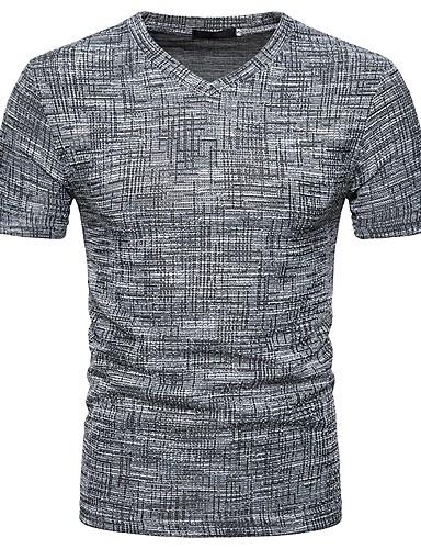 cheap Men's Tees & Tank Tops-Men's Basic / Street chic Slim T-shirt - Solid Colored V Neck Brown L / Short Sleeve / Spring / Summer