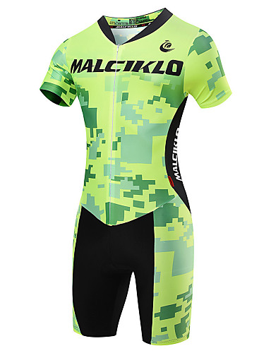 cheap Cycling Clothing-Malciklo Men's Short Sleeve Triathlon Tri Suit - Light Green Geometic British Bike Breathable Quick Dry Sports Coolmax® Lycra Geometic Triathlon Clothing Apparel / High Elasticity / Advanced