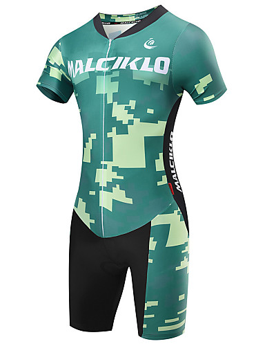 cheap Cycling Clothing-Malciklo Men's Short Sleeve Triathlon Tri Suit - Green British Camo / Camouflage Bike Breathable Quick Dry Sports Coolmax® Lycra Classic Triathlon Clothing Apparel / High Elasticity / Advanced