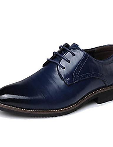 billige Oxford-sko til herrer-Herre Formell Sko Lær Vår / Høst Oxfords Svart / Gul / Blå / Fest / aften / Kombinasjon / Fest / aften / EU40
