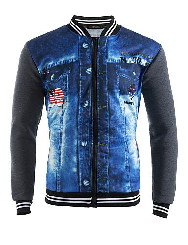 cheap Men's Slogan & Letter Print Hoodies-Men's Sports Street chic Long Sleeve Sweatshirt - Color Block / 3D Print Patchwork Dark Gray / Spring / Fall / Winter