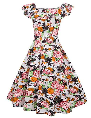 U עמוק עד הברך פרחוני - שמלה סווינג כותנה מידות גדולות וינטאג' / בסיסי בגדי ריקוד נשים