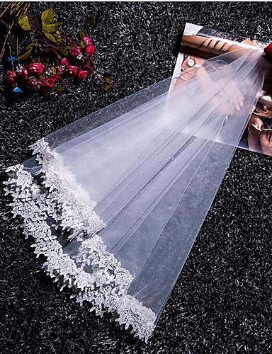 שכבה אחת סגנון מודרני ירח דבש נסיכות סגנון מינימליסטי חתונה הינומות חתונה צעיפי מרפק עם גדילים (פרנזים) שחבור תחרה טול
