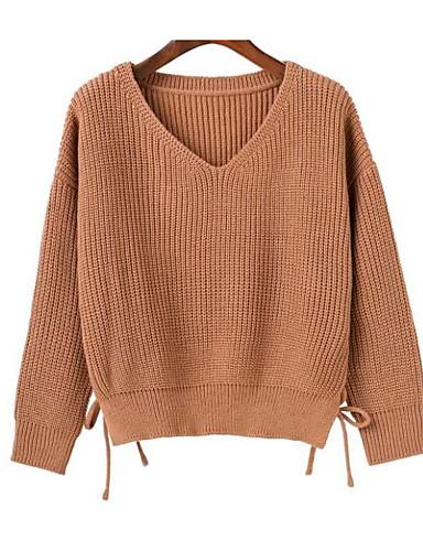 דפוס, צבע אחיד - סוודר שרוול ארוך צווארון V בגדי ריקוד נשים / אביב