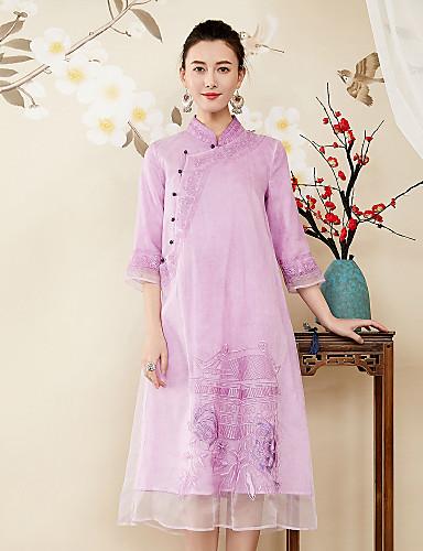 עומד רקום, פרחוני - שמלה משוחרר סגנון סיני בגדי ריקוד נשים