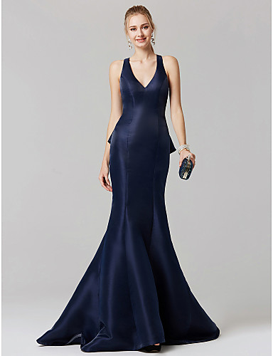 cheap Prom Dresses-Mermaid / Trumpet Plunging Neck Sweep / Brush Train Satin Beautiful Back Cocktail Party / Prom / Formal Evening Dress with Cascading Ruffles by TS Couture®