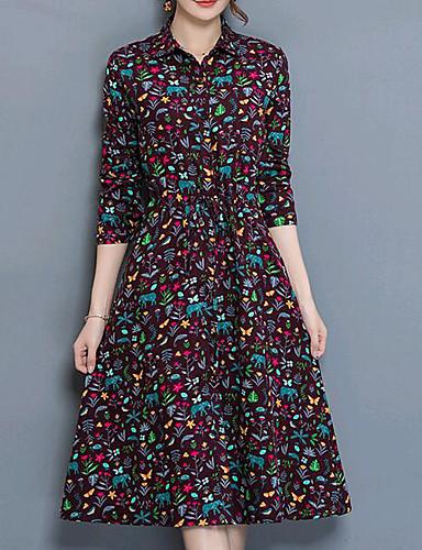 צווארון חולצה מידי דפוס, פרחוני - שמלה נדן כותנה בגדי ריקוד נשים / אביב