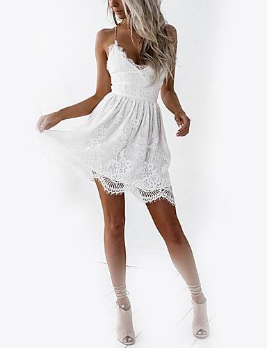 8c7b86e28b8d Women's Lace Holiday Club Basic Mini Slim A Line Dress - Solid Colored  White, Lace High Waist V Neck Strap Summer White M L XL / Backless / Sexy