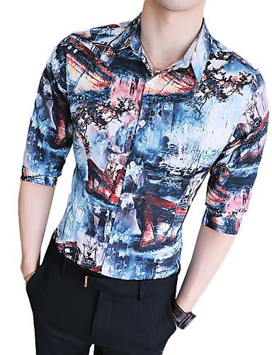 Koszula Męskie Moda miejska Klubowa Szczupła - Kwiaty