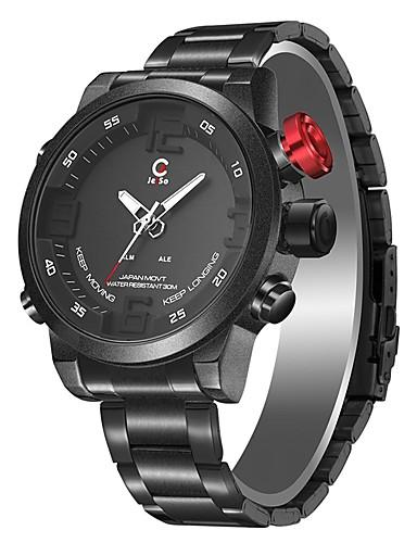 236a53581687 Hombre Reloj de Moda Reloj de Vestir Reloj Digital Japonés Cuarzo Acero  Inoxidable Negro   Blanco
