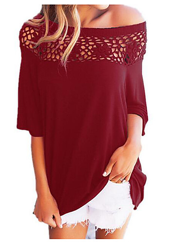 Women's Basic Street chic Puff Sleeve T-shirt - Solid Colored Boat Neck