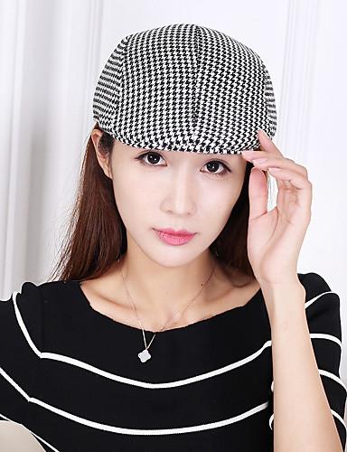 כובע כומתה (בארט) כובע עם שוליים רחבים כובע שמש כובע בייסבול - אחיד משובץ דמקה כותנה עבודה יוניסקס