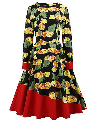 דפוס, פרחוני - שמלה גזרת A רזה בגדי ריקוד נשים