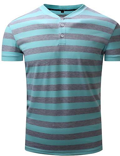 פסים צווארון חולצה סגנון רחוב טישרט - בגדי ריקוד גברים דפוס / שרוולים קצרים