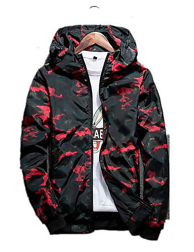 a0fc0560d0a14 Men's Daily Ordinary Spring Regular Jacket, Camouflage Hooded Long Sleeve  Polyester Blue / Black / Red XXL / XXXL / 4XL