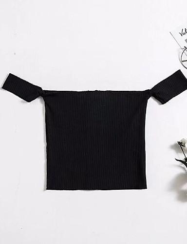 כותנה קפלים, צבע אחיד - סוודר שרוול ארוך בגדי ריקוד נשים / אביב