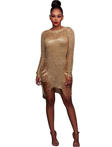 מותניים גבוהים חלול חיצוני, צבע אחיד - שמלה צינור רזה בגדי ריקוד נשים