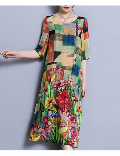 abordables Vestidos Estampados-Mujer Tallas Grandes Tejido Oriental Corte Ancho Vestido - Retazos, Bloques Midi Escote en U