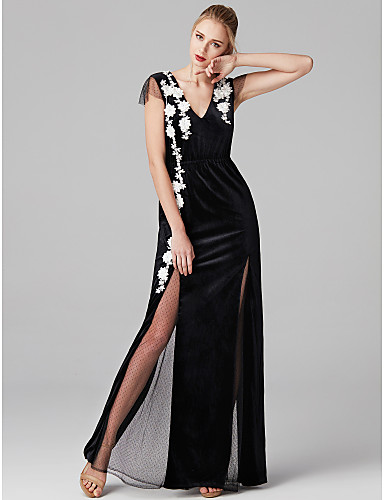 d44ad12bba1 Sheath   Column V Neck Floor Length Tulle   Velvet See Through Prom    Formal Evening Dress with Appliques   Split Front by TS Couture®