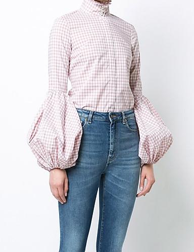 povoljno Ženske majice-Veći konfekcijski brojevi Majica Žene - Aktivan Dnevno / Izlasci Pamuk Karirani uzorak Lantern rukav Osnovni Blushing Pink