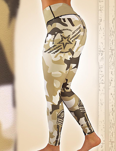 Damskie Sport Bawełna Sportowy Legging - Geometric Shape, Nadruk Średni Talia / Wiosna / Lato / Łuk / Sportowy look