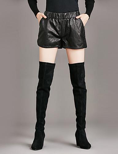 Damskie Rozmiar plus Bawełna Krótkie spodnie Spodnie - Plisy, Jendolity kolor