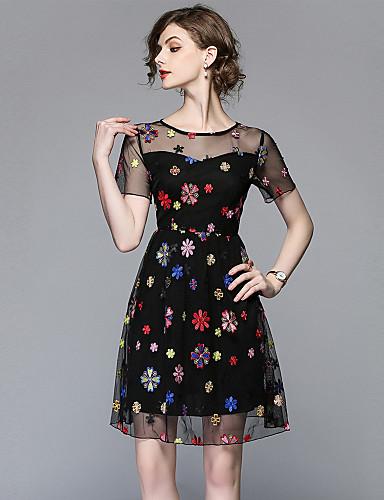 Damskie Wyjściowe Vintage / Wyrafinowany styl Linia A Sukienka - Kwiaty, Haft Wysoka talia Mini / Wiosna / Lato