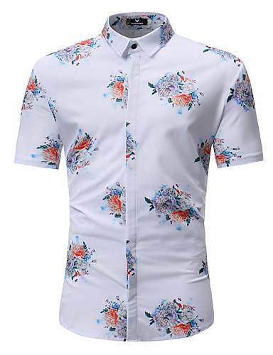Rozmiar plus Koszula Męskie Boho / Moda miejska, Nadruk Bawełna Plaża Kwiaty / Wielokolorowa / Krótki rękaw