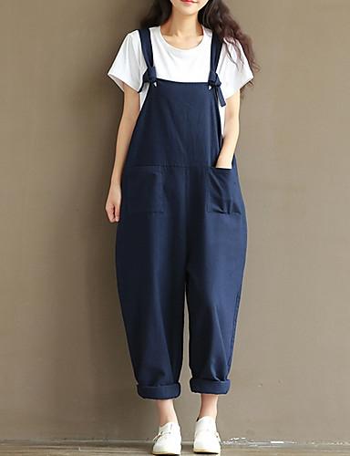 Damskie Bawełna Kombinezon Spodnie - Solidne kolory Patchwork Niebieski / Wyjściowe