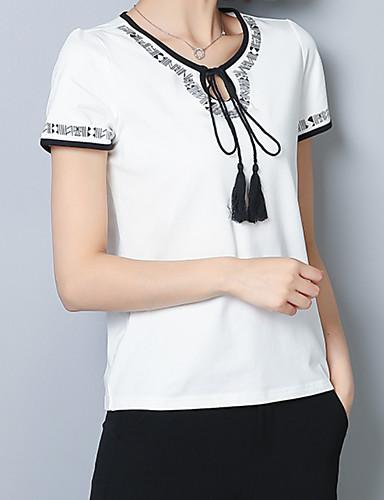 T-shirt Damskie Wzornictwo chińskie, Łuk Bawełna Święto Solidne kolory / Geometric Shape / Wiosna / Lato