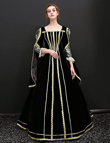 41822aa4013 Princess Queen Victoria Renaissance Costume Women s Dress Outfits Party  Costume Masquerade Black Vintage Cosplay 3 4 Length Sleeve Puff   Balloon  Sleeve ...