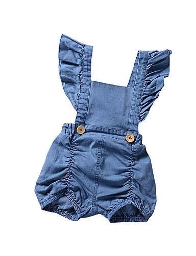 cheap With Lovely Romper-Baby Girls' Casual / Street chic Daily / Sports Solid Colored Backless / Ruffle / Ruched Sleeveless Spandex Romper Light Blue / Toddler