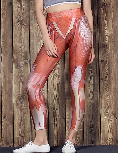 Damskie Sport Bawełna Sportowy Legging - Geometric Shape, Nadruk Średni Talia / Wiosna / Lato