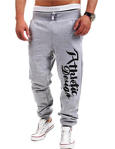 Hombre Activo Algodón Corte Recto   Activo   Pantalones de Deporte  Pantalones - Letra   Deportes b0d81073d590