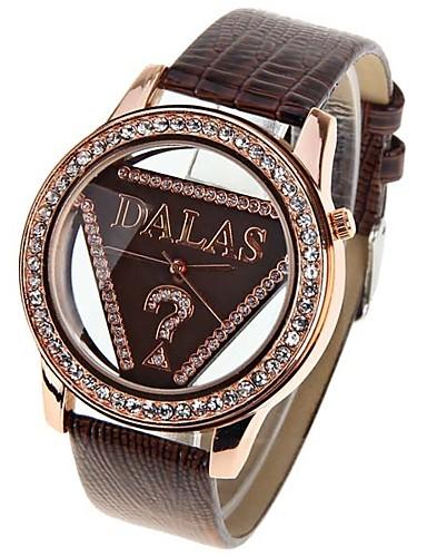 JUBAOLI בגדי ריקוד נשים שעוני אופנה קווארץ שעונים יום יומיים מגניב עור להקה אנלוגי אדום - חום