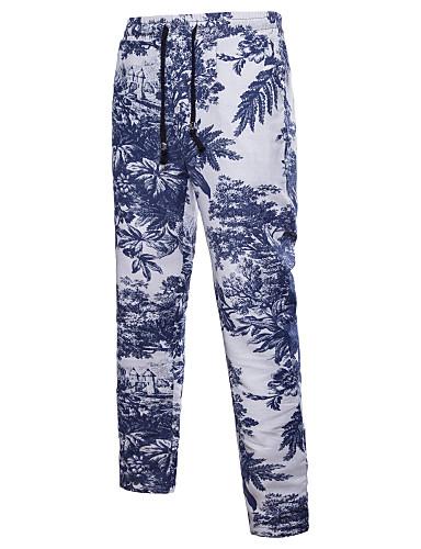 Męskie Luźna Typu Chino Spodnie - Geometric Shape Nadruk Niebieski XXXL
