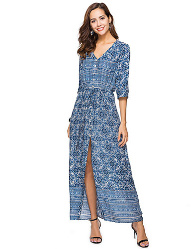 7fef0d4626e Women s Boho Plus Size Holiday Boho Maxi Tunic Dress - Geometric Blue V  Neck Summer Blue Black XL XXL XXXL  06601606
