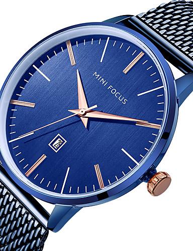 37270efd9d8b MINI FOCUS Hombre Reloj Casual Japonés Cuarzo Acero Inoxidable Negro   Azul    Plata Calendario Reloj