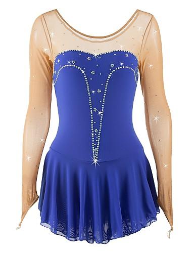 שמלה להחלקה אמנותית בגדי ריקוד נשים / בנות החלקה על הקרח שמלות כחול ספנדקס תחרות ביגוד להחלקה על הקרח נצנצית ללא שרוולים החלקה אמנותית