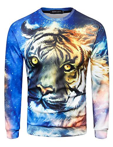 Męskie Rozmiar plus Moda miejska Sport Długi rękaw Bluzy - Geometryczny, Nadruk Okrągły dekolt