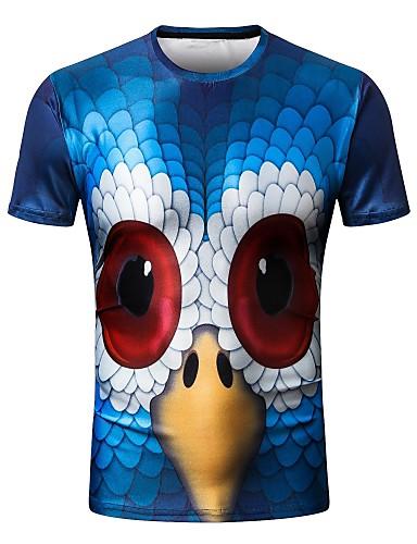 T-shirt Męskie Podstawowy / Moda miejska, Nadruk Okrągły dekolt Szczupła - Geometryczny / Krótki rękaw