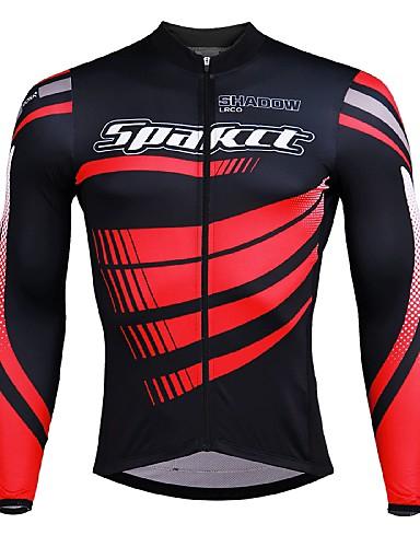 cheap Cycling Clothing-SPAKCT Men's Long Sleeve Cycling Jersey Black / Red Black / Blue Black / Yellow Stripes Bike Jersey Quick Dry Sports Elastane Polyster Mountain Bike MTB Road Bike Cycling Clothing Apparel / Stretchy