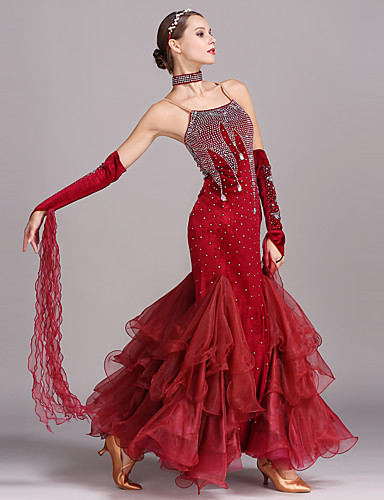 bb93d56f8d8f Ballroom Dance Dresses Women's Training / Performance Velvet Crystals /  Rhinestones Sleeveless High Dress / Neckwear / Bracelets
