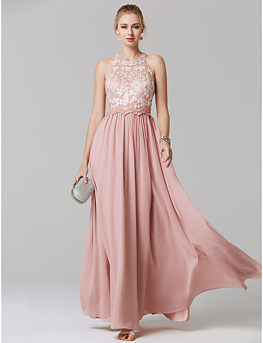 cheap Prom Dresses-A-Line Illusion Neck Floor Length Chiffon / Lace Prom / Formal Evening Dress with Embroidery by TS Couture®