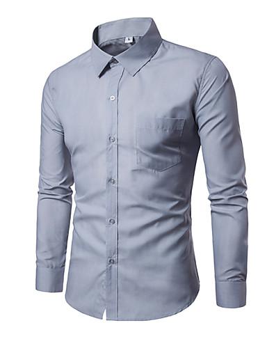 billige Herreskjorter-Tynd Herre - Ensfarvet Forretning / Basale Arbejde Skjorte Kakifarvet XL / Langærmet