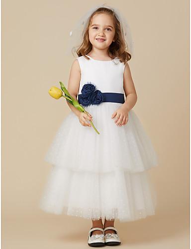 Princesse Mi-long Robe de Demoiselle d'Honneur Fille - Coton / Tulle Sans Manches Encolure dégagée avec Ceinture / Ruban / Fleur par LAN