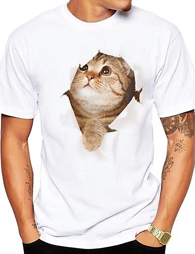 billige T-shirts og undertrøjer til herrer-Rund hals Herre - 3D / Dyr Trykt mønster Gade Plusstørrelser T-shirt Hvid XL / Kortærmet / Sommer
